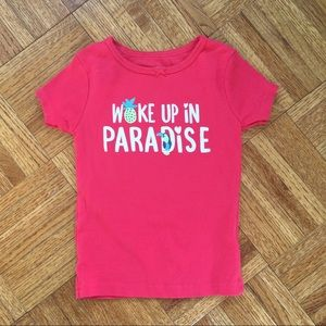 Carters pink girls top woke up in paradise 3T year